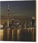 Toronto Evening Sky Line Panorama Wood Print