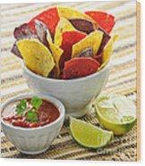 Tortilla Chips And Salsa Wood Print by Elena Elisseeva