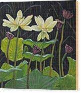 Touching Lotus Blooms Wood Print