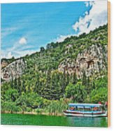 Tourboat Stops By Ancient Tombs In Daylan-turkey  Wood Print