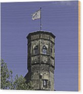 Tower And Flag Cologne Germany Wood Print