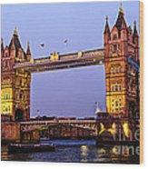 Tower Bridge In London At Dusk Wood Print by Elena Elisseeva
