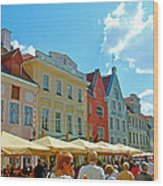 Town Square In Old Town Tallinn-estonia Wood Print