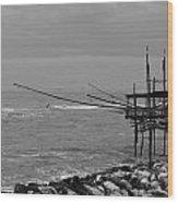 Trabocco On The Coast Of Italy  Wood Print