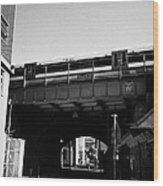 train going over railway bridge elevated section of track southwark London England UK Wood Print