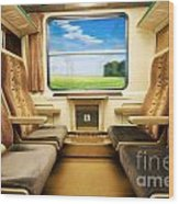 Travel In Comfortable Train. Wood Print