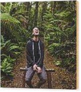 Travel Man Laughing In Tasmania Rainforest Wood Print