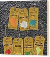 Travel Tags Wood Print