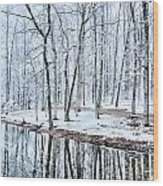 Tree Line Reflections In Lake During Winter Snow Storm Wood Print
