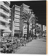 Tree Lined Seafront Promenade With Restaurants And Apartment Blocks Salou Catalonia Spain Wood Print