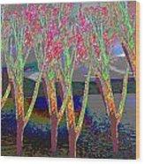 Trees Around Faal Season  Digitally Painted Photograph Taken Around Poconos  Welcome To The Pocono M Wood Print