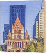 Trinity Church Boston Usa Wood Print