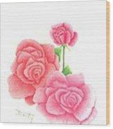 Trio Of Red Roses Wood Print