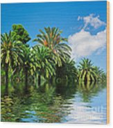 Tropical Exotic Jungle And Water Wood Print