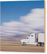 Truck On The Road, Interstate 70, Green Wood Print