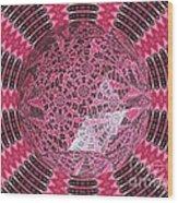 Tulips Kaleidoscope Under Polyhedron Glass Wood Print