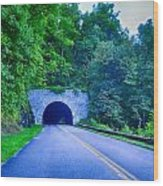Tunnel Through Mountains On Blue Ridge Parkway In The Morning Wood Print