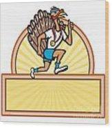 Turkey Run Runner Side Cartoon Isolated Wood Print by Aloysius Patrimonio