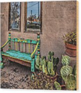 Turquoise Bench Wood Print