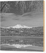 Twin Peaks Longs And Meeker Lake Reflection Bw Wood Print