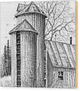 Twin Silos Wood Print
