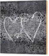 Two Hearts Graffiti Love Wood Print
