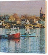 Two Lobster Boats On Marblehead Harbor With A Red Sky Wood Print