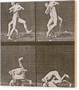 Two Men Wrestling Wood Print