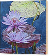 Two Purple Lilies Wood Print
