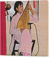 Two-stringed Lute Player At Wedding Ceremony Show In Binh Quoi Village-vietnam  Wood Print
