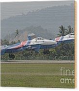 Two Sukhoi Su-27 Flanker Of The Russian Wood Print