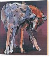 Two Wolves Wood Print by Mark Adlington
