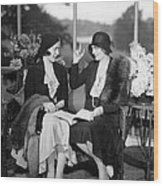 Two Women Talking Wood Print