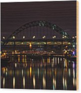 Tyne Bridge At Night Wood Print