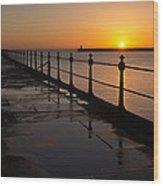 Tynemouth Pier Sunrise Wood Print