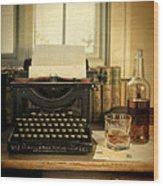 Typewriter And Whiskey Wood Print