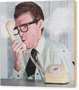 Unhappy Nerd Businessman Yelling Down Retro Phone Wood Print