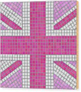 Union Jack Pink Wood Print by Jane Rix