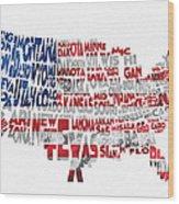 United States Typographic Map Flag Wood Print