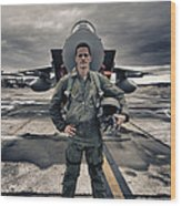 U.s. Air Force Pilot Standing In Front Wood Print