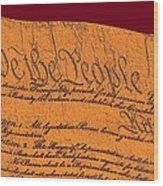 Us Constitution Closeup Sculpture Violet Red Background Wood Print by L Brown