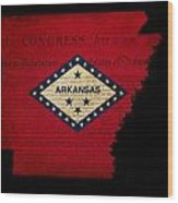 Usa American Arkansas State Map Outline With Grunge Effect Flag  Wood Print