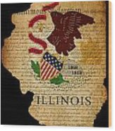 Usa American Illinois State Map Outline With Grunge Effect Flag  Wood Print by Matthew Gibson