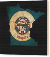 Usa American Minnesota State Map Outline With Grunge Effect Flag Wood Print