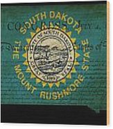 Usa American South Dakota State Map Outline With Grunge Effect F Wood Print