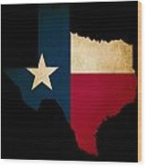 Usa American Texas State Map Outline With Grunge Effect Flag Wood Print