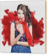 Valentines Day Woman Eating Heart Candy Wood Print