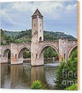 Valentre Bridge In Cahors France Wood Print by Elena Elisseeva