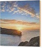Van Gogh Style Digital Painting Beautiful Vibrant Sunrise Over Rocky Coastline Wood Print