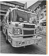Vancouver Fire Rescue Services Truck Engine Outside Hall 2 In Downtown Eastside Bc Canada Wood Print by Joe Fox